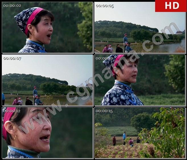 YT62224苏州军民田间歌唱唱山歌休息张家港高清实拍视频素材