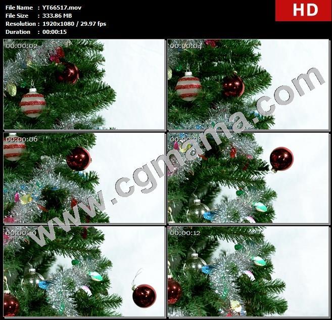 YT66517圣诞树装饰红色球掉落慢动作高清实拍视频素材