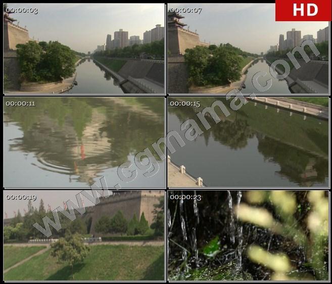 YT62703陕西省西安市护城河河水古代建筑流水高清实拍视频素材