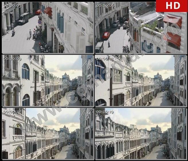 YT61678航拍海南城市街道楼房建筑骑楼老街高清实拍视频素材