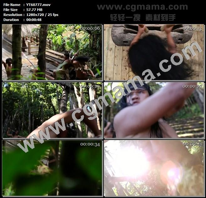 YT60777木刻原始部落舞蹈佤族人敲鼓挥剑雨林高清实拍视频素材
