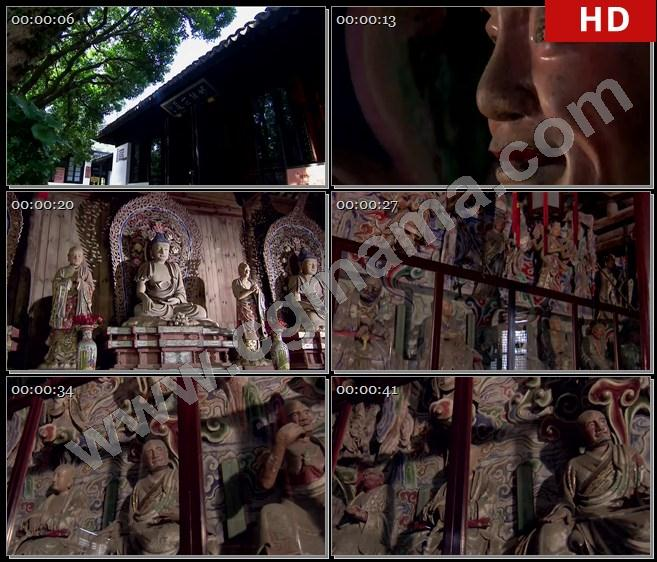 YT61493古代建筑寺院寺庙东山岛寺院佛像东山镇紫吉庵罗汉高清实拍视频素材