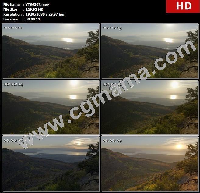 YT66307日出到日落山谷远去城市水高清实拍视频素材