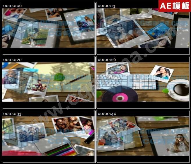 AE7198木板书桌书本笔记本手机屏幕图文相册展示AE模板