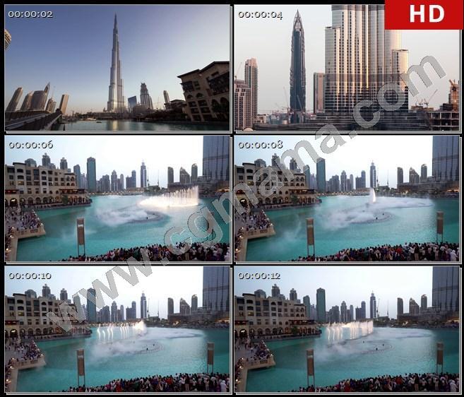YT61378迪拜城市风景高楼建筑河流喷泉高清实拍视频素材