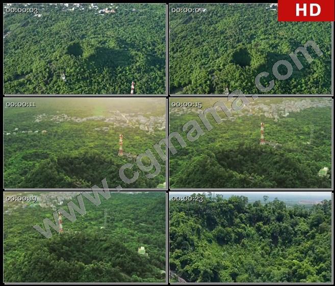 YT61714航拍海南马鞍岭火山森林树林城镇植被地质公园高清实拍视频素材