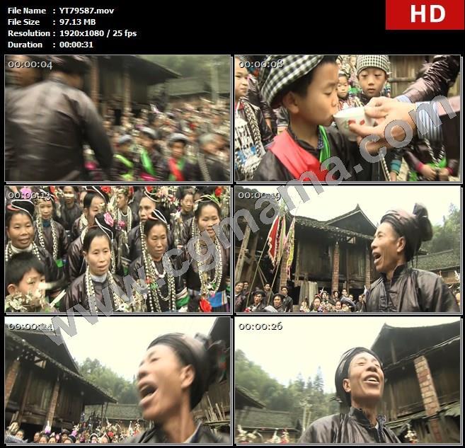 YT79587侗族祭祀仪式孩子少数民族萨玛女神呐喊高清实拍视频素材