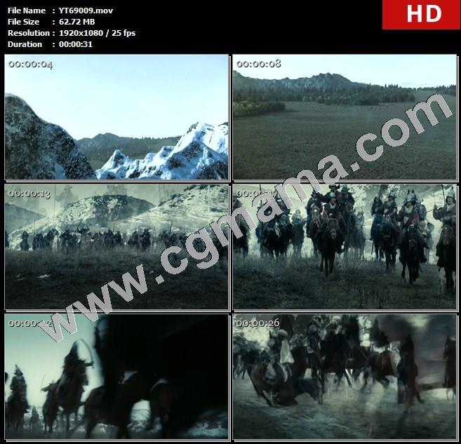 YT69009雪山军队将士兵马队伍草木高清实拍视频素材