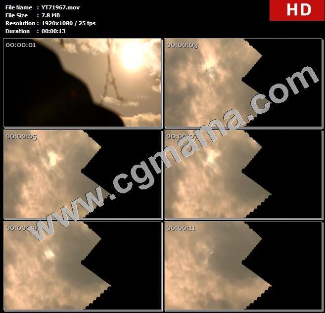 YT71967阳光屋檐流动云朵树枝高清实拍视频素材