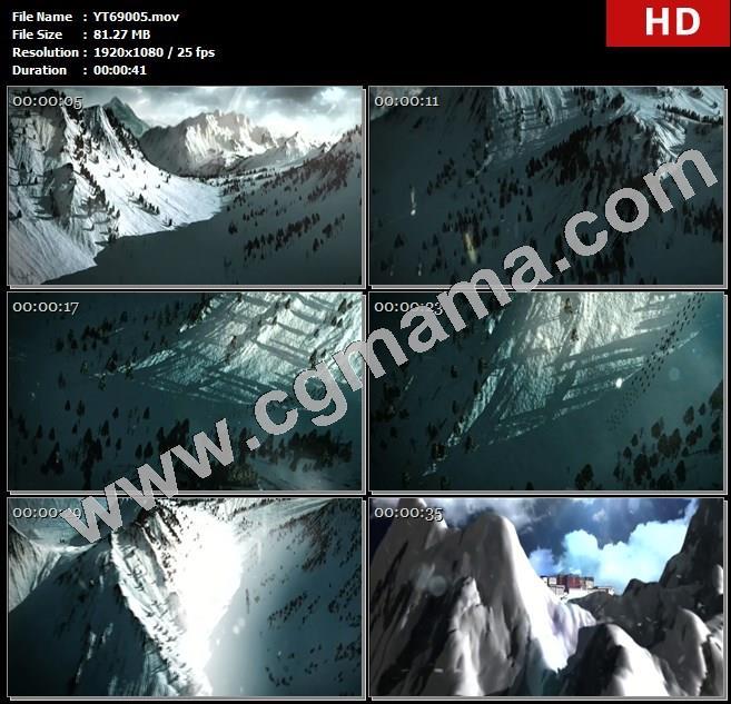 YT69005雪山动画队伍布达拉宫藏族雪飞舞阳光山顶高清实拍视频素材