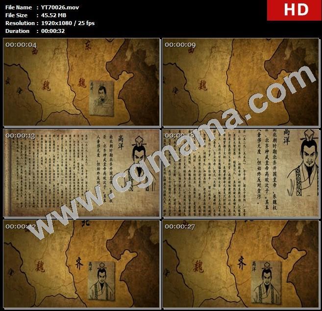 YT70026古人古代地图动画高洋简介卷轴高清实拍视频素材