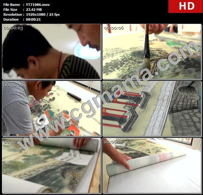 YT71086清朝京城繁华盛景图画作画家绘画康乾盛世高清实拍视频素材