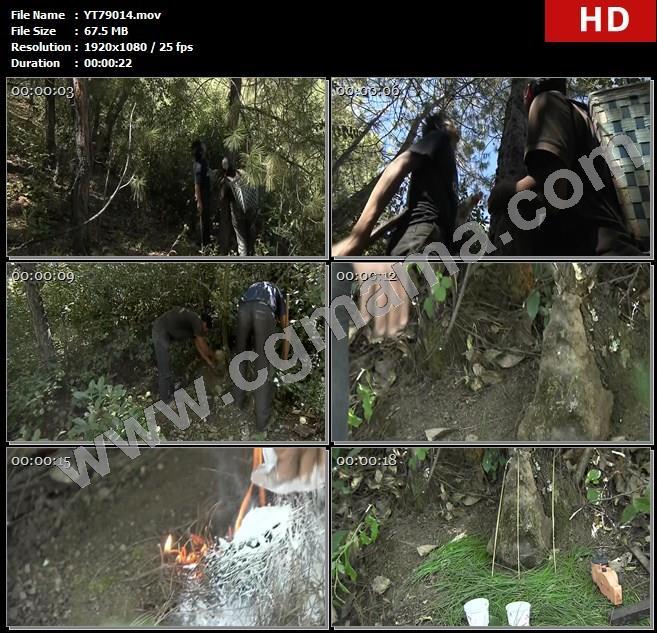 YT79014山林村民树木观察祭祀火焰清茶高清实拍视频素材