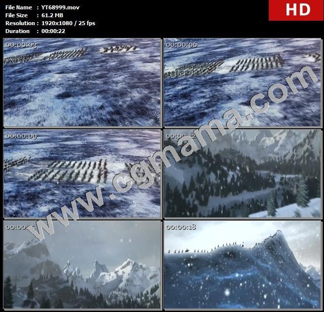 YT68999雪军队雪山山顶飘落飞舞树木行军动画高清实拍视频素材