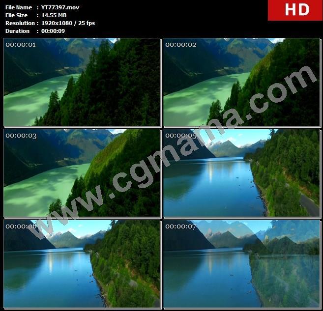 YT77397河流青山密林水面高清实拍视频素材