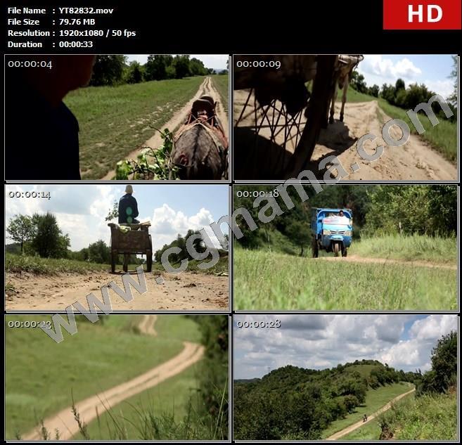 YT82832农村乡间小路马车驴车三轮车高清实拍视频素材