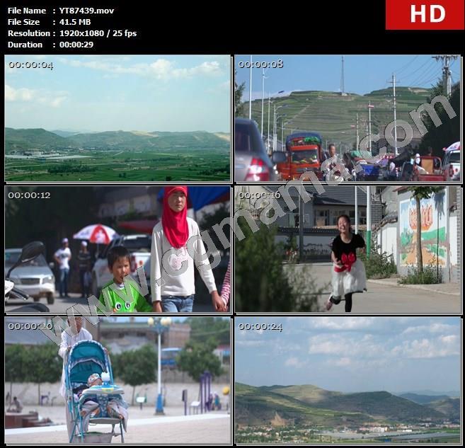 YT87439青山田地房屋街道村民车辆健身器材蓝天白云高清实拍视频素材