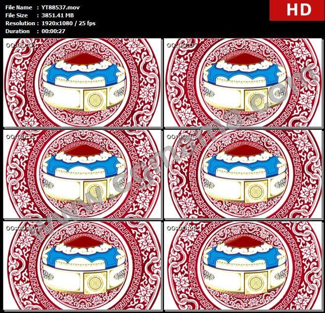 YT88537蒙古包民族元素花纹新疆透明通道歌曲舞蹈晚会led大屏高清视频素材定制