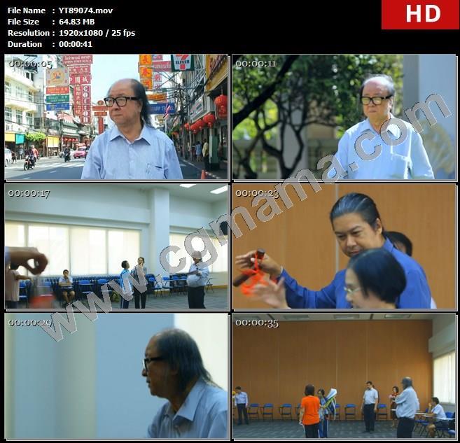 YT89074泰国曼谷男子老人朱拉隆功大学潮剧排练高清实拍视频素材