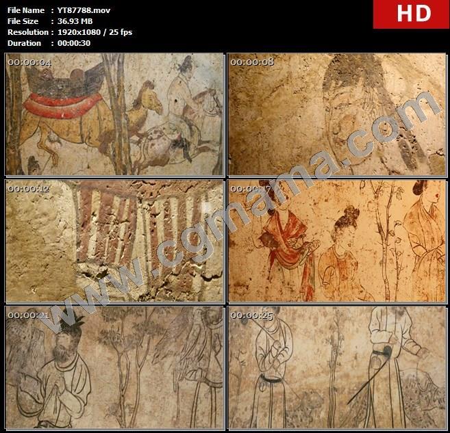 YT87788唐朝贵族人物建筑壁画文物历史文化壁画馆高清实拍视频素材