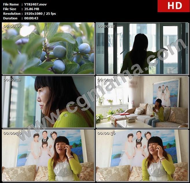 YT82407酸梅果实果树水果果农照片打电话客厅高清实拍视频素材