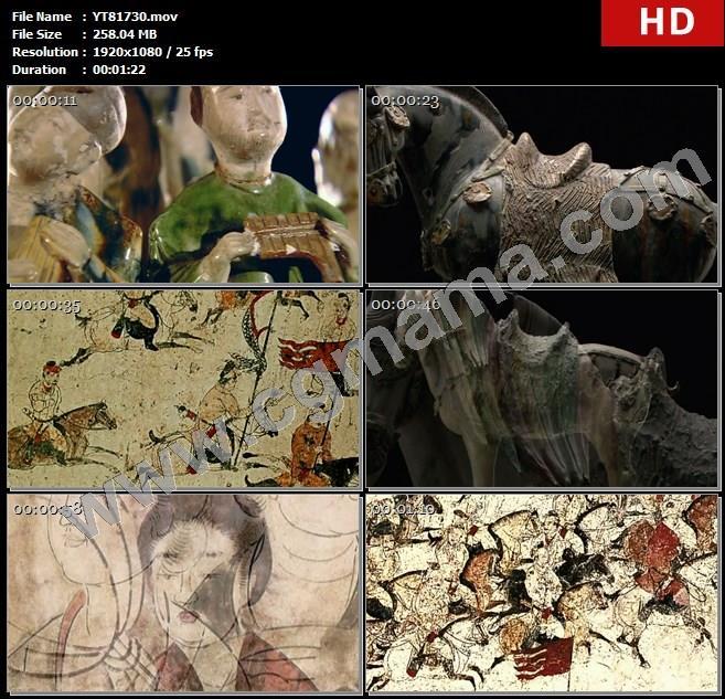 YT81730唐朝唐代唐三彩马骑驼载乐俑古文物狩猎出行图宫女图中国画工笔画高清实拍视频素材