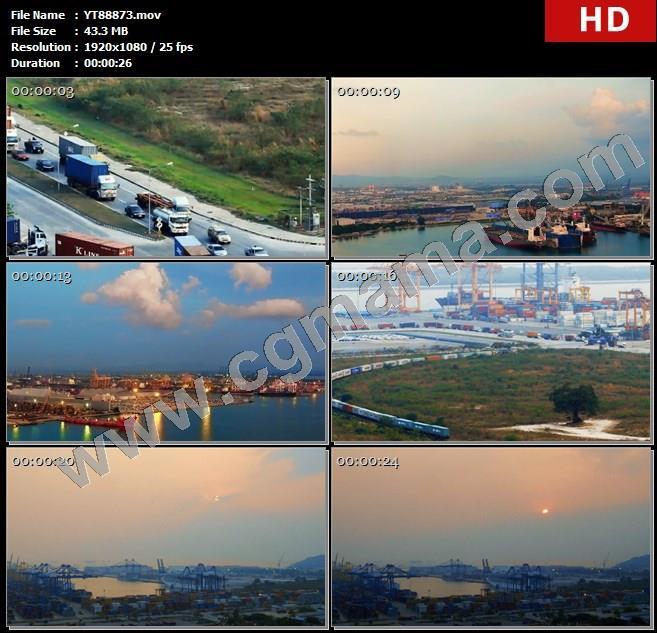 YT88873货车泰国港口泰国廉差邦港海港货车集装箱码头高清实拍视频素材