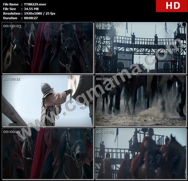 YT88229战鼓军队吴王刘濞军寨士兵战马旗帜大山高清实拍视频素材