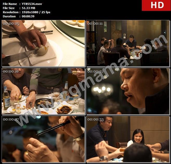 YT85534切鸭蛋餐桌聚餐吃饭拍照咸鸭蛋品尝举杯庆祝高清实拍视频素材