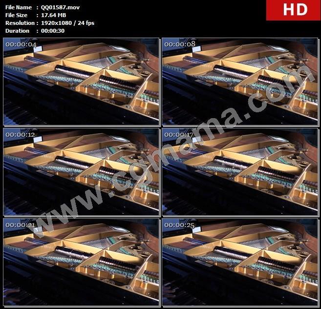 QQ01587弹奏钢琴钢琴内部结构发出声音运动镜头特写实拍高清实拍视频素材