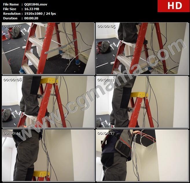 QQ01846电路工程维修人员室内安装电缆线路整理电线人物工作实拍高清实拍视频素材