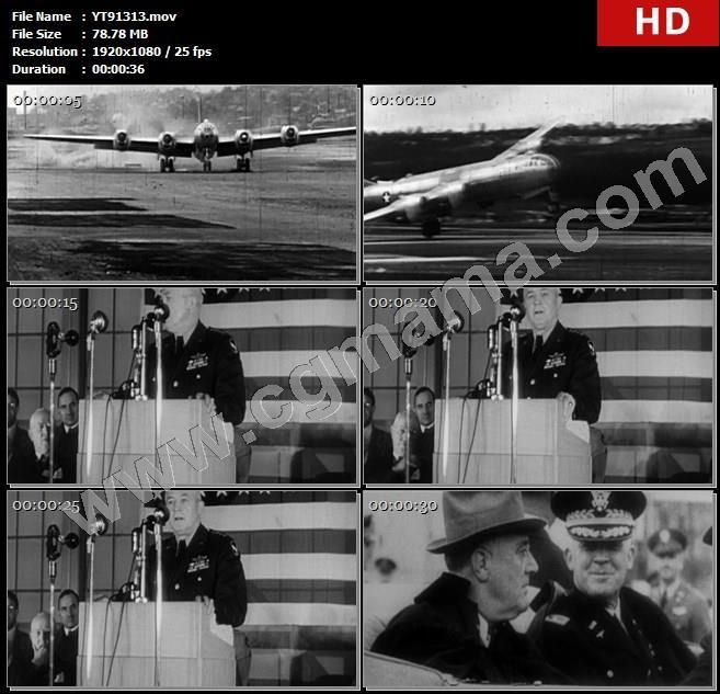 YT91313飞机战斗机起飞讲话话筒旗帜军官士兵高清实拍视频素材