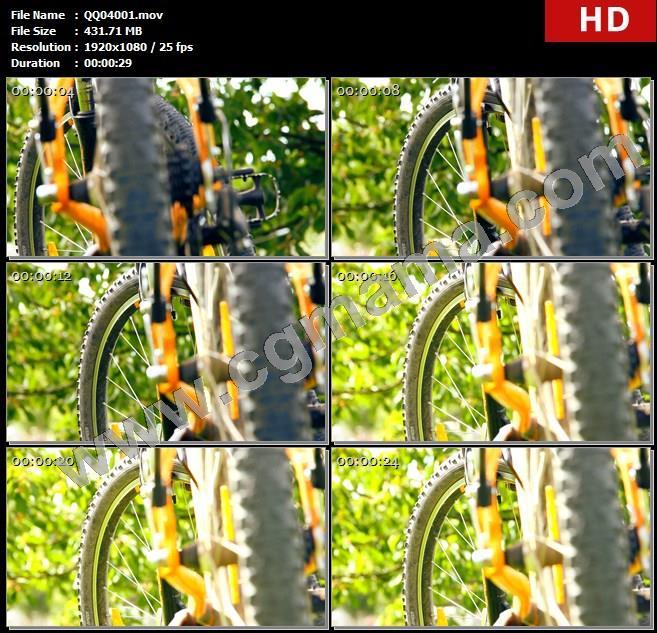 QQ04001自行车静态摆放车子架构细节变焦拍摄山地自行车高清视频实拍高清实拍视频素材