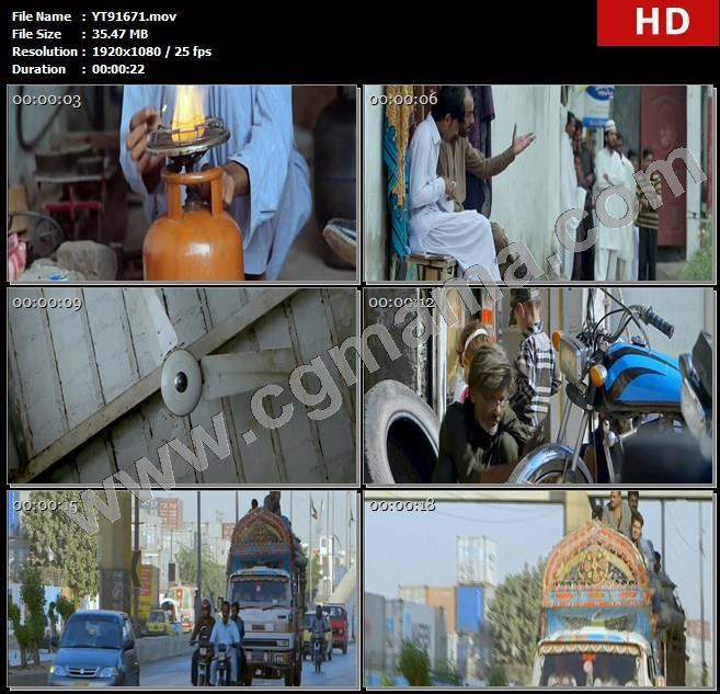 YT91671街道店铺居民用电设施街道生活巴基斯坦电力短缺问题高清实拍视频素材