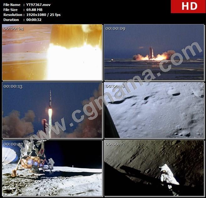 YT97367火焰烟雾火箭发射月球表面航天员航天服高清实拍视频素材