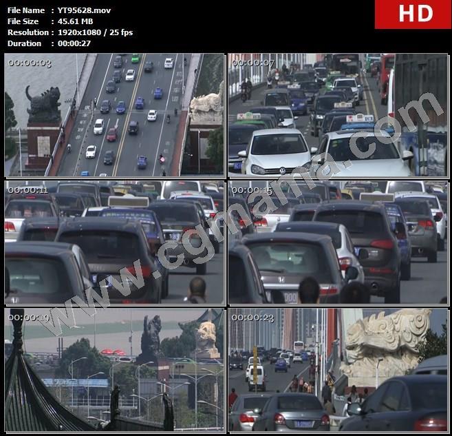 YT95628桥梁公路车辆八一大桥雕像江西南昌高清实拍视频素材