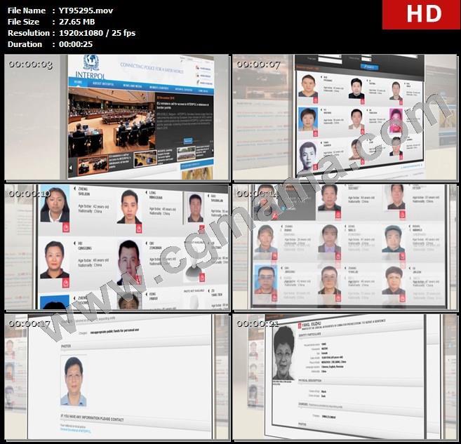 YT95295红色通缉令外逃人员名单信息介绍贪污腐败高清实拍视频素材