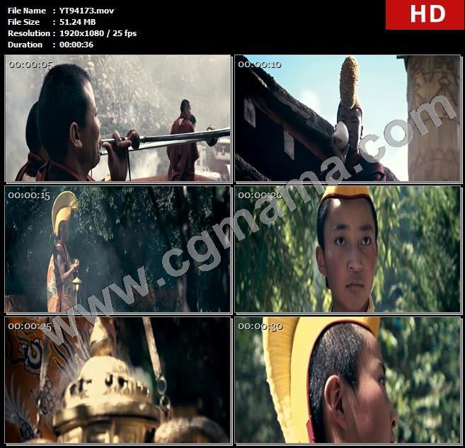 YT94173树木寺庙喇嘛僧人佛事青少年宗教仪式香炉高清实拍视频素材