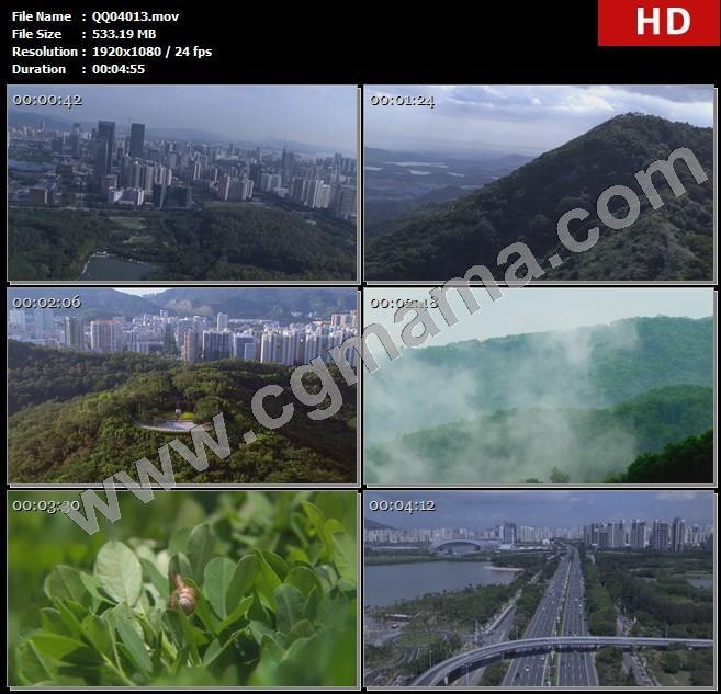 QQ04013航拍深圳城市风光绿色家园景观园林城市建筑阳光透过树林高清实拍高清实拍视频素材