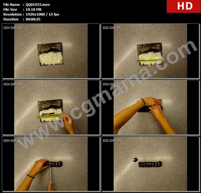 QQ01933美味清新紫菜青瓜鲜虾小卷寿司制作过程延时记录实拍高清实拍视频素材