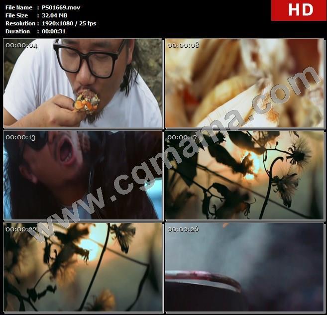 PS01669火堆食物人物青年海鲜太阳煮饭河边高清实拍视频素材