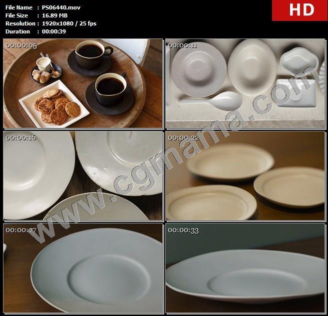 PS06440桌子盘子杯子茶勺子特写展示高清实拍视频素材