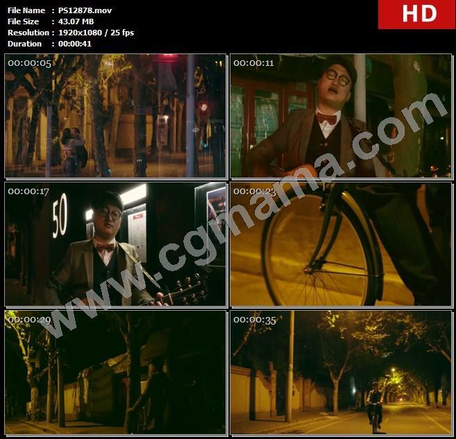 PS12878街道青年情侣街头音乐自行车高清实拍视频素材