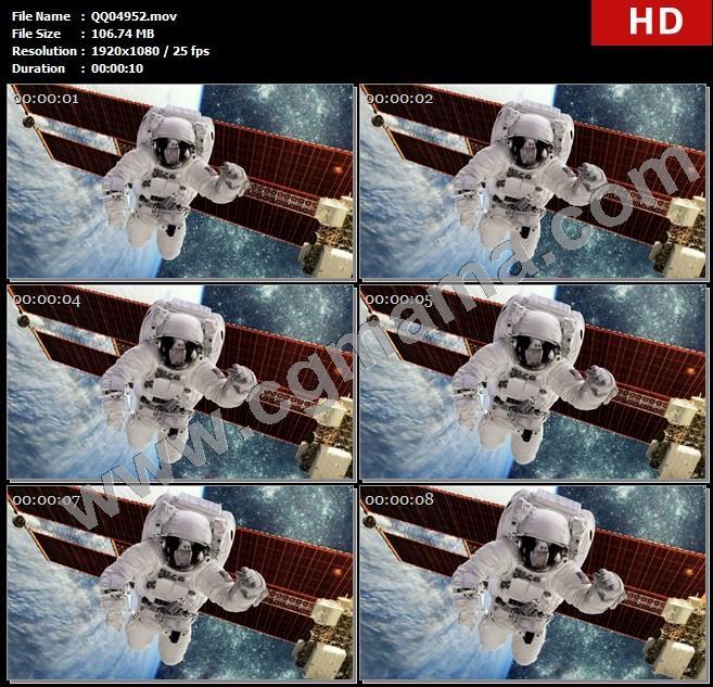 QQ04952地球元素宇航员在太空之中行星粒子监测仪器镜头动态高清led大屏背景视频素材