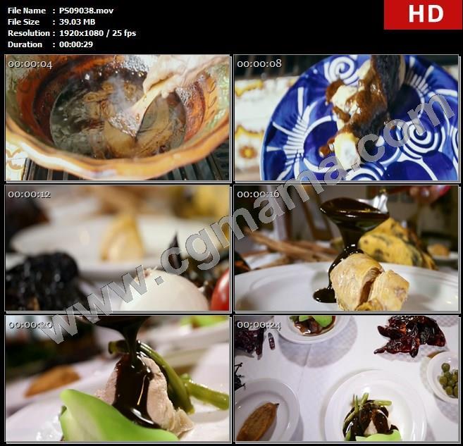 PS09038锅辣椒酱勺子菜品盘子特写辣椒高清实拍视频素材