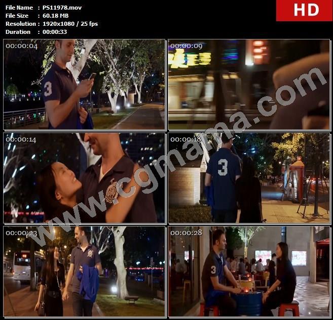 PS11978灯光街道青年情侣人物夜晚散步高清实拍视频素材
