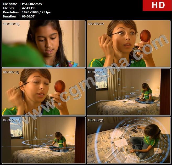 PS13402女孩孩子化妆眼睫毛学习看书读书计算公式高清实拍视频素材