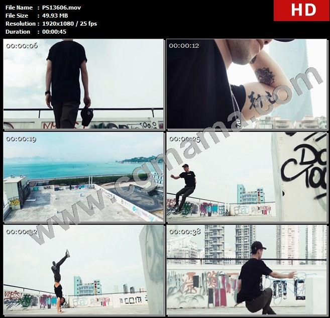 PS13606青年天台纹身舞蹈练舞人物高清实拍视频素材