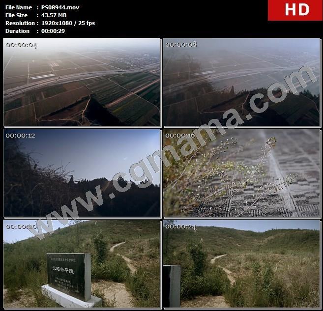 PS08944公路田野帝陵道路草木地板平陵文物高清实拍视频素材