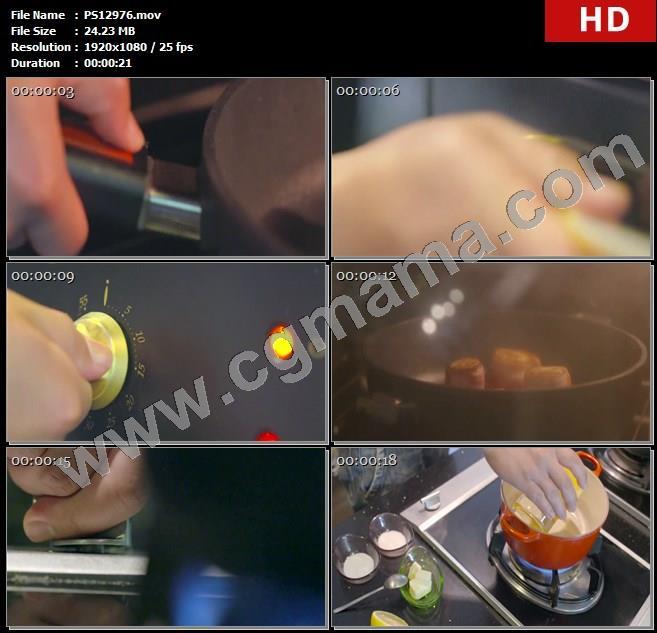 PS12976烤箱鳕鱼卷烤制调制酱汁橙汁热锅高清实拍视频素材
